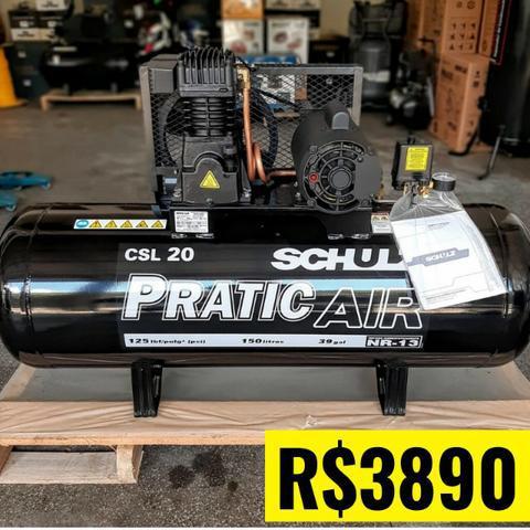 Compressor de ar 20 pés 150 litros 3 hp monofásico - CSL