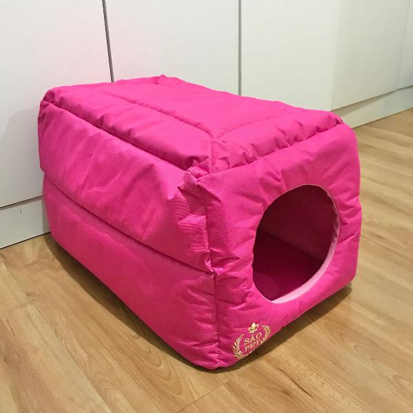 caminha toca rosa em nylon para gatos e cachorros
