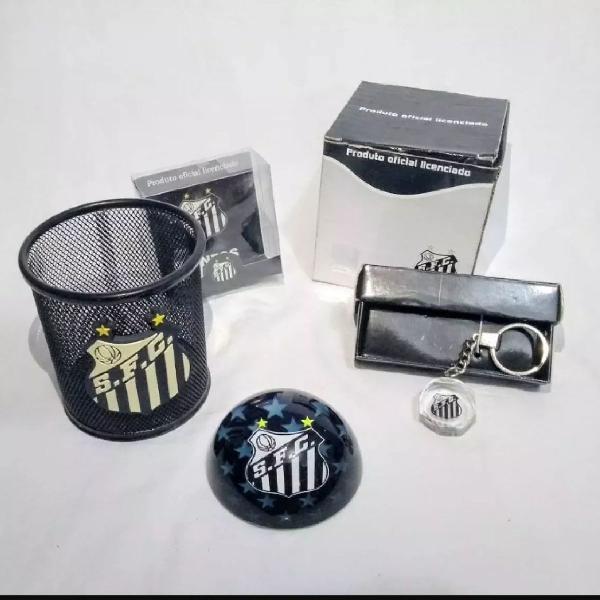 kit torcedor Santos, peso de papel, chaveiro e porta caneta