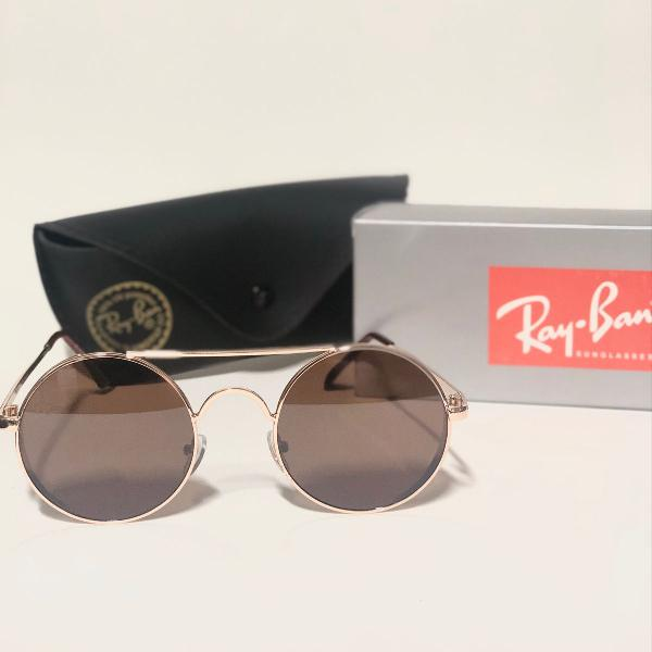 lindo óculos de sol unissex ray-ban space marrom