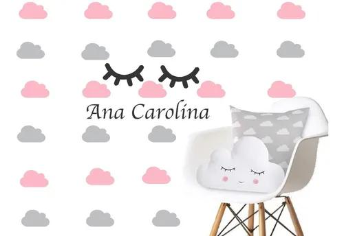 Adesivo De Parede Infantil 80 Nuvens+cilios+nome