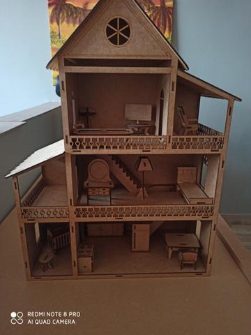 Casa para boneca Polly em mdf 60 cm de altura
