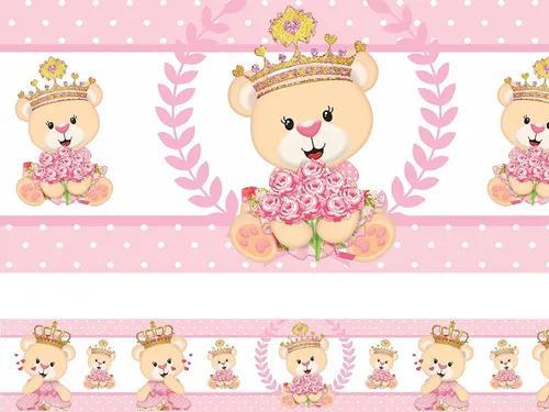 Faixa Decorativa Adesivo Border Infantil Bebe Menina Ursa