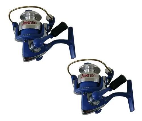 Kit Pesca 2 Molinetes Maruri Joker 800 Azul 4 Rolamentos