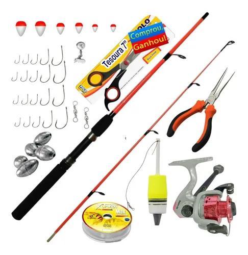 Kit Pesca Completo Vara Molinete Acessórios + Presente