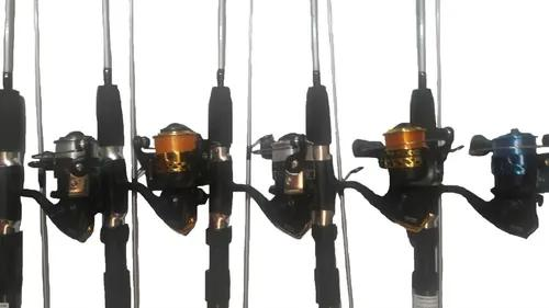 Kit Pesca Promoção 2 Molinete + 2 Vara Maciça 1,35