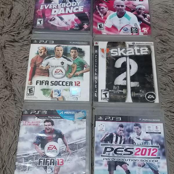 Lote 06 Jogos PS3 esportes, dança, skate, futebol,