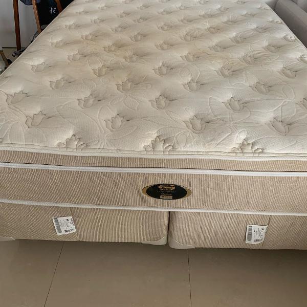 conjunto cama box queen com colchão houston top