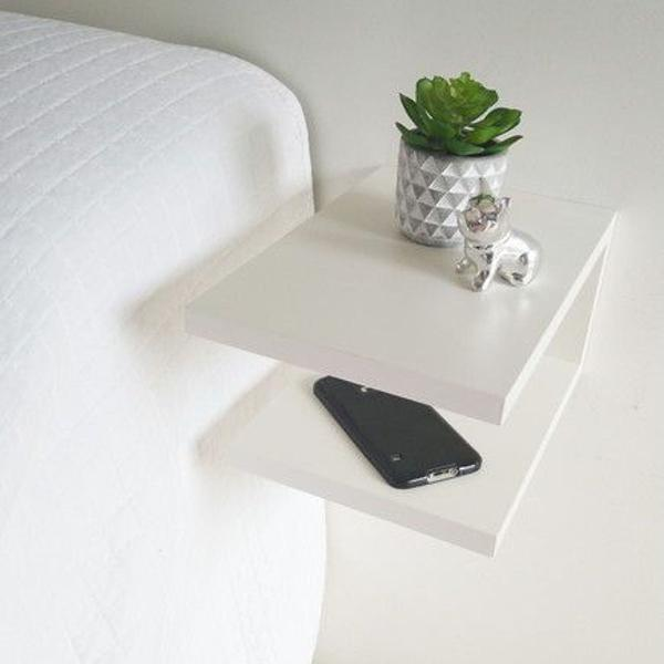 criado de parede moderno mdf branco pequenos espaços