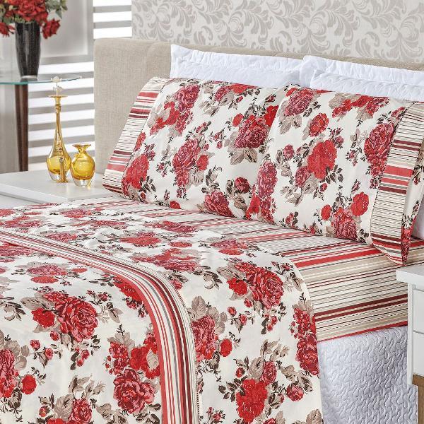 jogo cama casal queen 4 peças em algodão requinte