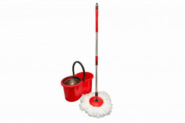 Balde Spin Mop 360 Cesto em Inox C/ Rodinhas Segma Brinde