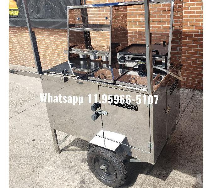 carrinho de hotdog cachorro quente com toldo caixa termica