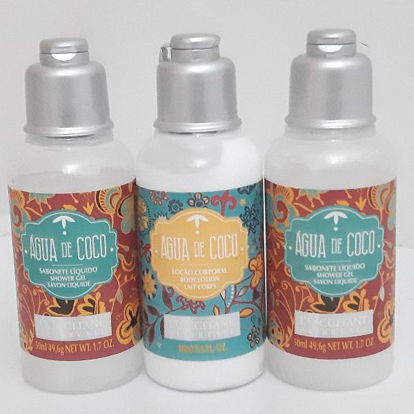 sabonete + body lotion água de coco 50 ml l'occitane