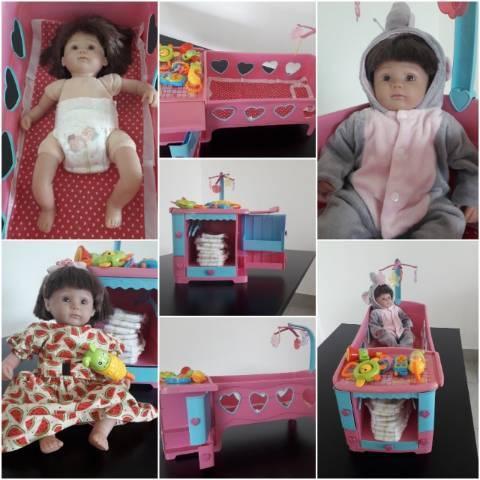 Berço de Brinquedo e Boneca Reborn