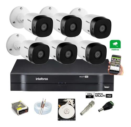 Kit Intelbras 6 Cam 1120 Ir 20m Dvr 8 Canais Mhdx 1108 C/ Hd