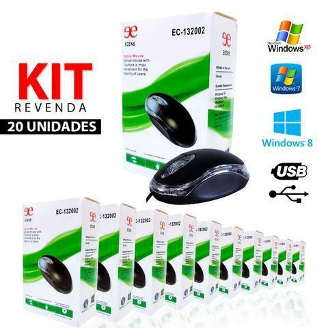 Kit Atacado Mouse Óptico 20un Alta Precisão 1000dpi Usb