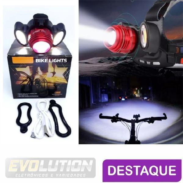 Lanterna LED t6 2 leds r2 triplo de cabeça ou Bike