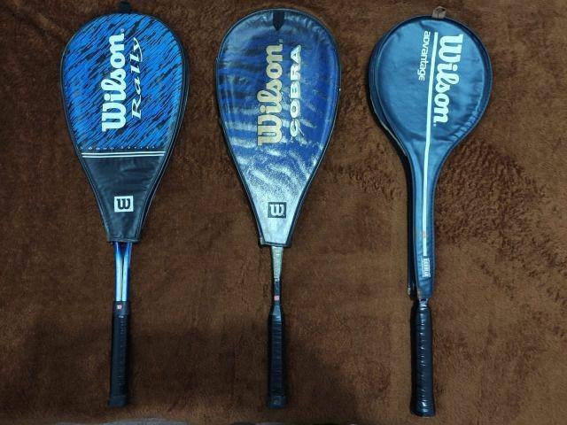 Três raquetes da Wilson para praticar squash