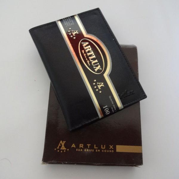 porta cartão preto couro legítimo artlux
