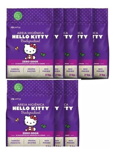Areia Higiênica Hello Kitty Roxa Biogrossa P/ Gatos 16kg