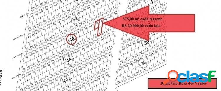 Terrenos par investimento Rosa dos Ventos - 375,00 m² cada