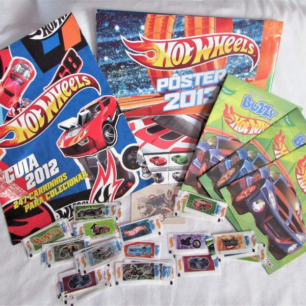 lbum de figurinhas hot wheels 2004+ guia 2012 + pôster