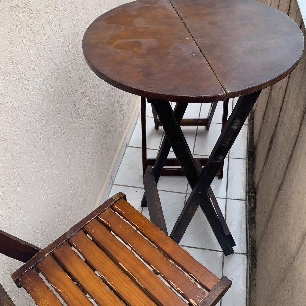 mesa e cadeiras altas bistro de madeira dobraveis