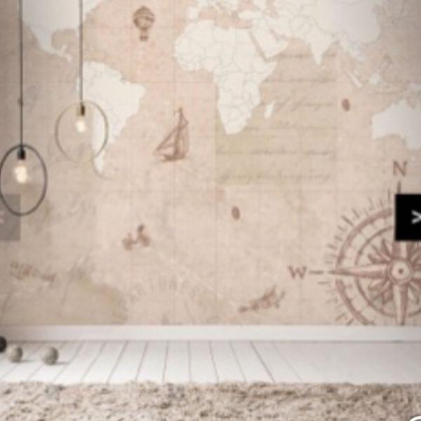 papel de parede mapa mundo vintage , autoadesivo de alta