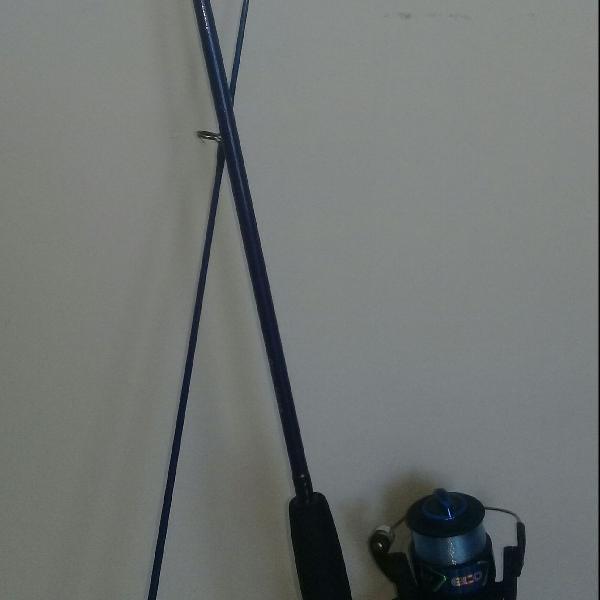 vara de pesca com molinete, 1,80m azul semi-usada
