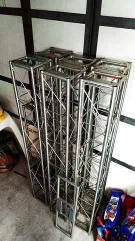 Trave Treliça Dj Alumínio Q20 Kit com 8 peças para Monta