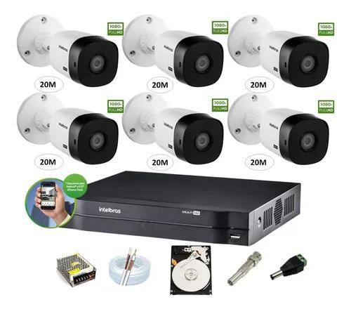 Kit Intelbras 6 Cam 1220b 1080p Dvr 8ch Mhdx 1108 Hd 1 Tera