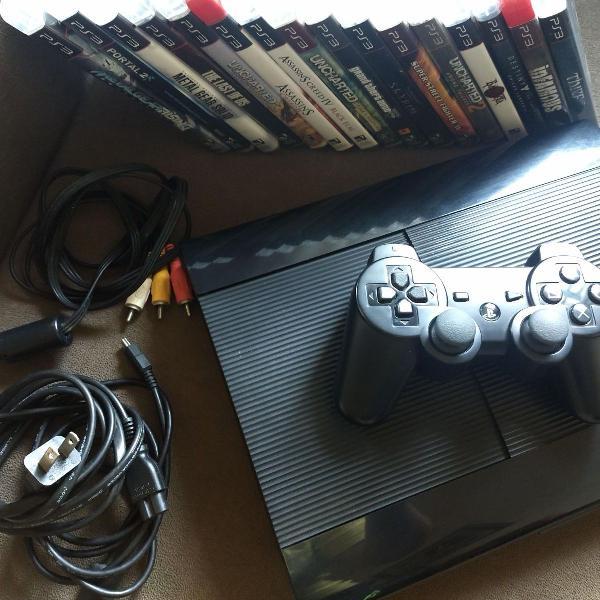 playstation 3 super slim 250 gb + controle original + 24