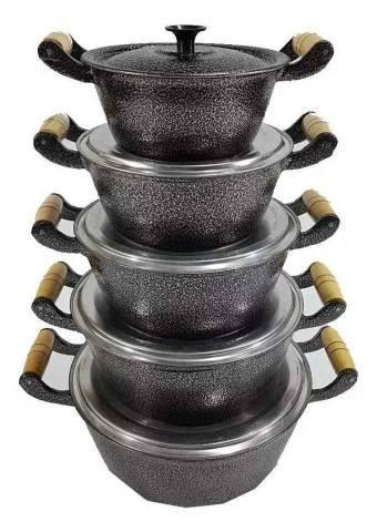 Jogo de panela craqueada em aluminio, com 5 peças - Entrega
