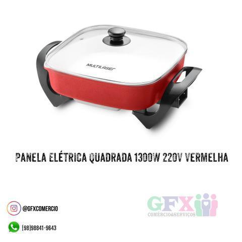 Panela Elétrica Quadrada 1300W 220V Vermelha