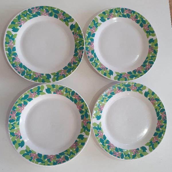 4 pratos rasos brancos estampa folhagem verde