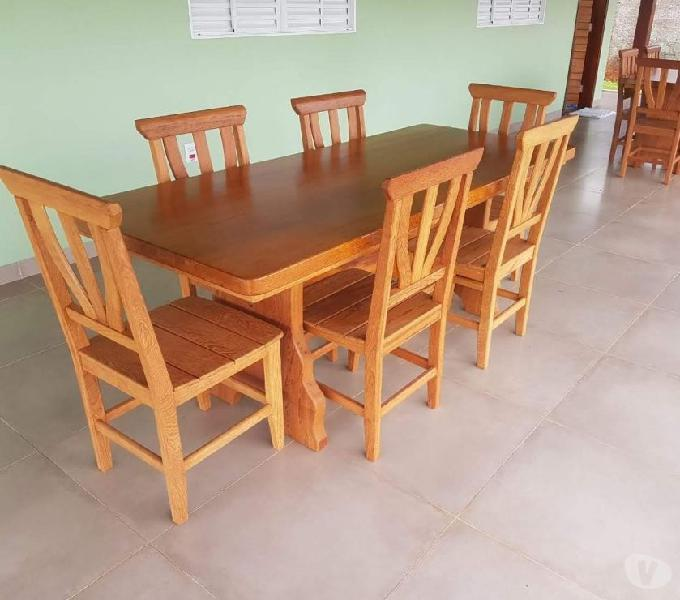 Mesa de jantar 6 cadeiras de madeira maciça