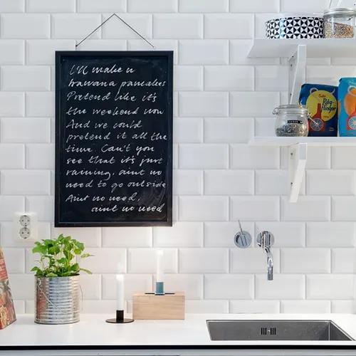 Papel De Parede Adesivo Azulejo Tijolinho Branco Cozinha