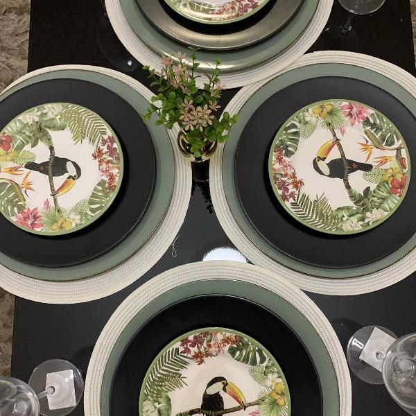 aparelho jantar 24 peças . pratos rasos e sobremesa