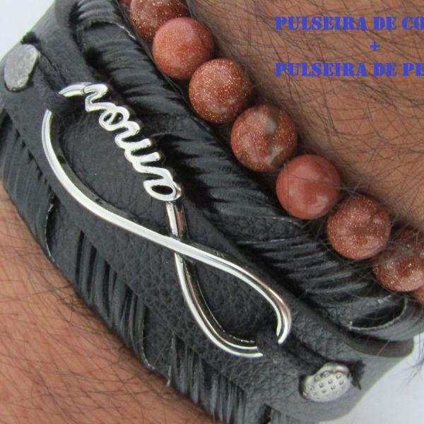 pulseira de pedra do sol pulseira de couro ecológico com