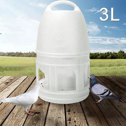 3l Branco Pombos De Plástico Pássaros Bebedor Alimentador