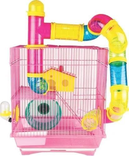 Gaiola Hamster 2 Andares Tubos Média Completa