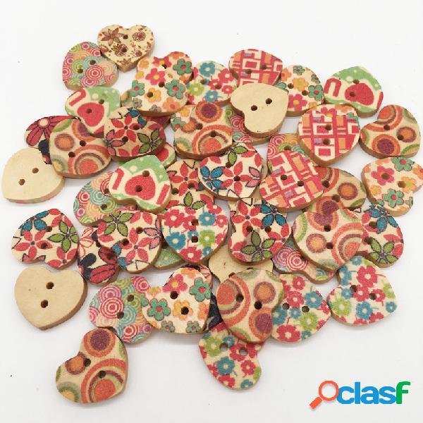 100 pcs coração de madeira botões de costura 18 * 16mm