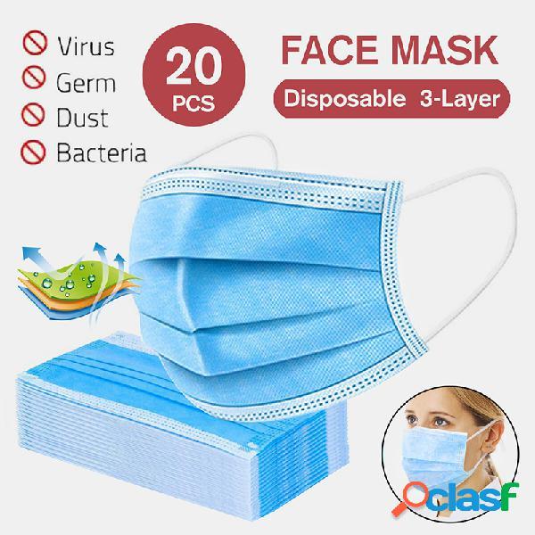20pcs máscaras descartáveis boca não tecida máscara