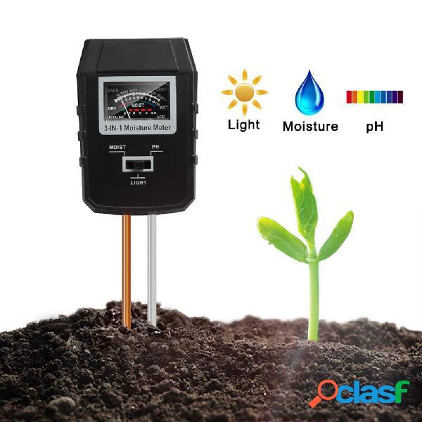 3-em-1 Medidor de PH do solo Testador de umidade Plantas de