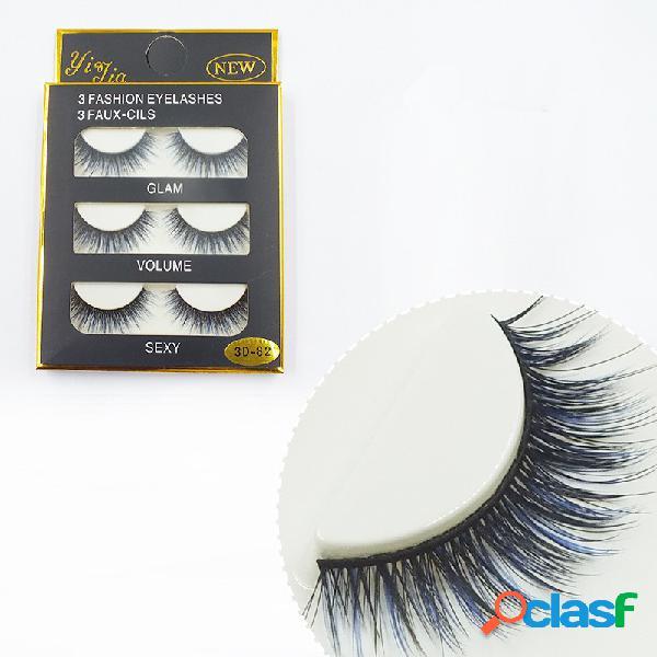 3 pares de cílios postiços 3D Black Blue Eye Lashes Makeup