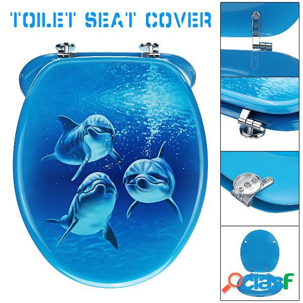 3D Three Blue Dolphin Tampa do assento do toalete Top
