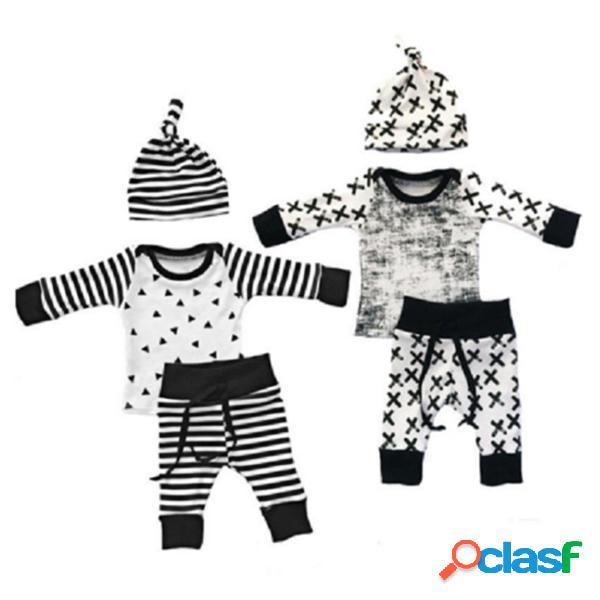 3pcs despojado Soft algodão meninos conjunto de roupas