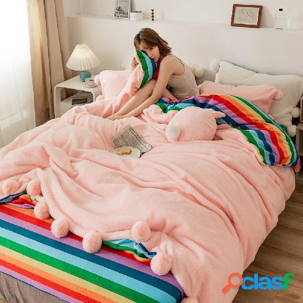 4pcs engrossar veludo de pelúcia dupla face inverno cama