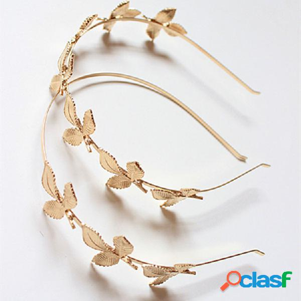 Arco de cabelo do vintage folhas de ouro plantas Arco de