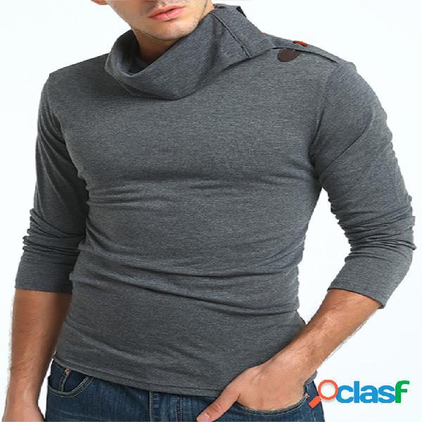 Camiseta Casual Gola Alta Desenho de Chifre Manga Longa